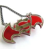 Batman Superman necklace Laser cut mirror plastic pendant