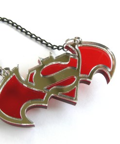 Batman Superman necklace Laser cut mirror plastic pendant