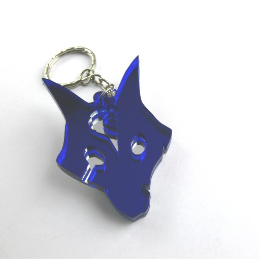 League of Legends Kindred Wolf keychain Laser cut blue and mirror acrylic