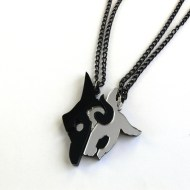 LoL Kindred best friends necklaces Laser cut black and mirror acrylic