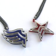 Mass Effect Paragon Renegade necklaces Laser cut from blue and red plastic