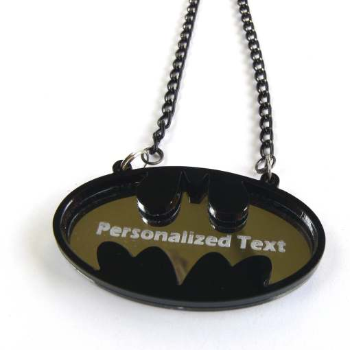 Batman personalized text necklace Laser cut from mirror and black plastic