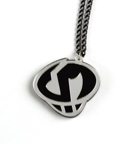 Pokemon Team Skull necklace Laser cut black and mirror acrylic