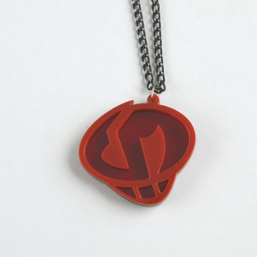 Sun Moon Team Skull necklace Laser cut from red acrylic