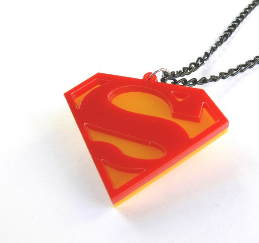 Superman symbol necklace Laser cut yellow and red plastic pendant