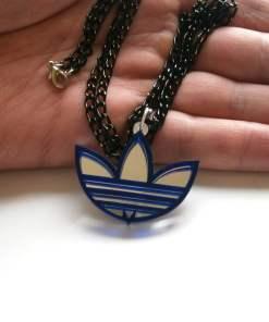 Adidas necklace blue acrylic