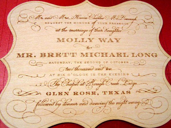 Laser Engraved Walnut Wood Custom Wedding Invitation