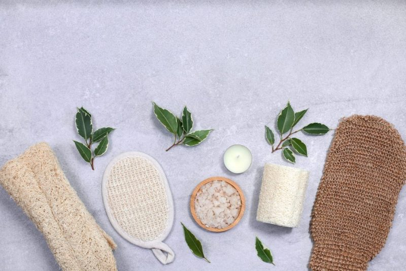 Set of eco-friendly sponges for body care.