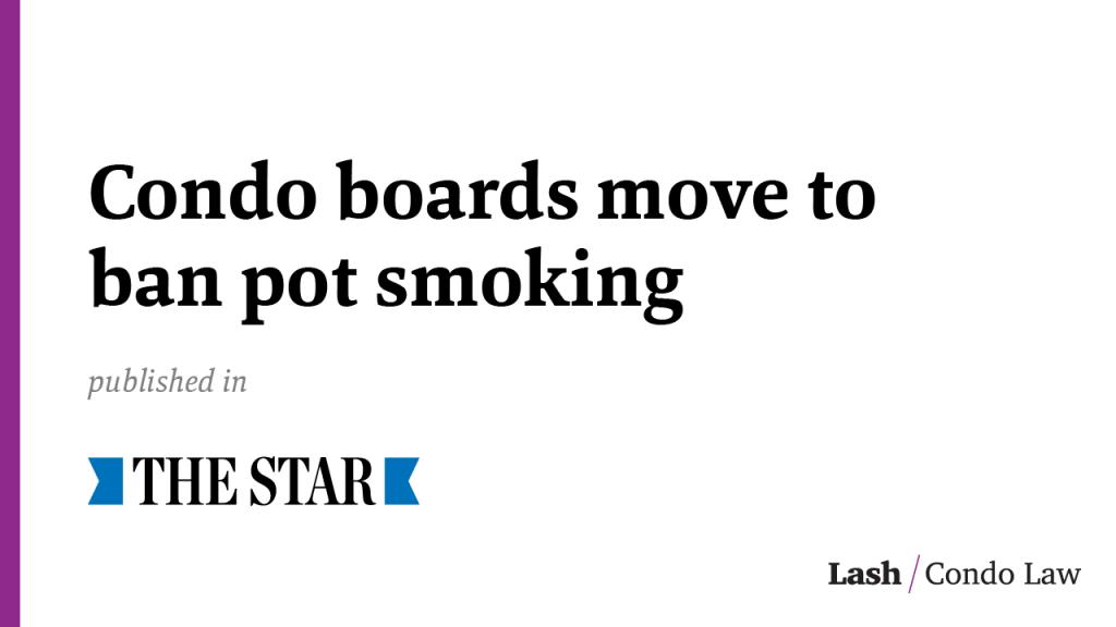 Condo boards move to ban pot smoking