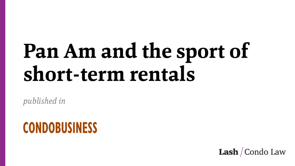 Pan Am and the sport of short-term rentals