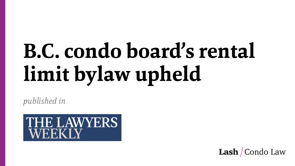 B.C. condo board's rental limit bylaw upheld