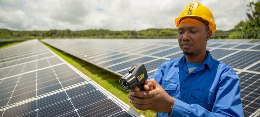 Los paneles solares se mantienen en una granja en Mauricio.