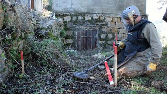 Las minas terrestres se limpian en el Líbano.