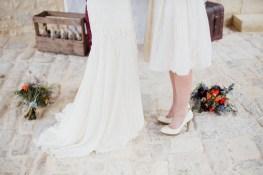 Robe de mariée longue et courte
