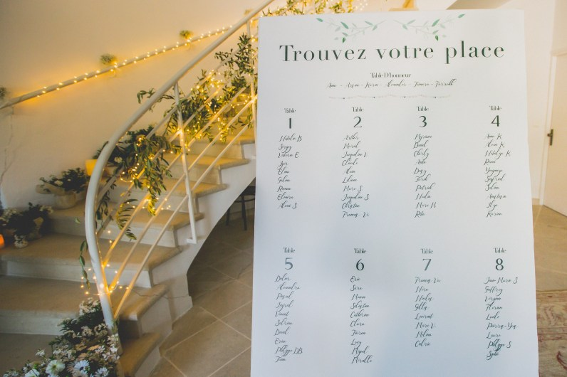 Plan de table calligraphié