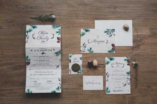 Faire-part de mariage sur le thème de la forêt