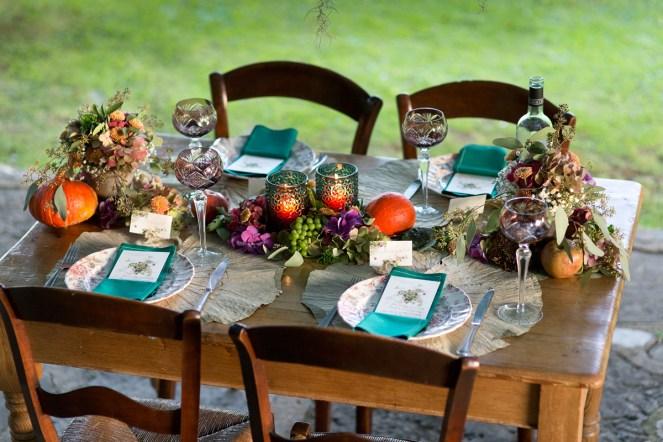 décoration de table fruits et fleurs