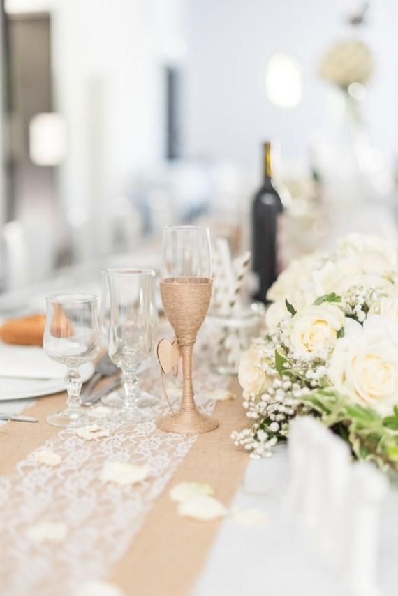 Décoration de verre mariage avec de la ficelle retro champêtre