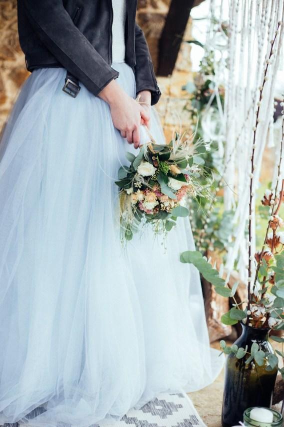 Mariée en tulle bleu