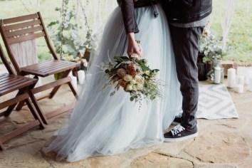 Mariée rock et jupe en tulle bleu