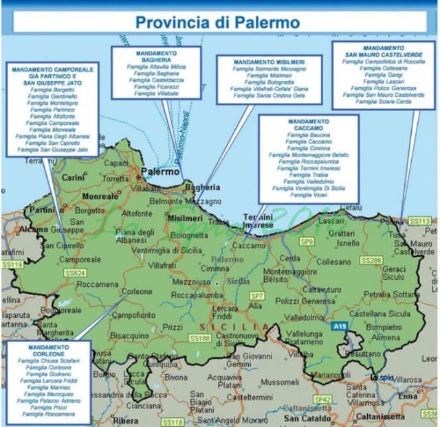 Mappa mafia Provincia Palermo (Dia 2015)