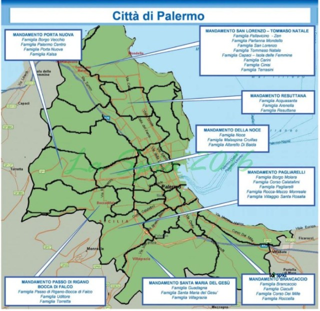 Mappa mafia Città Palermo (Dia 2015)