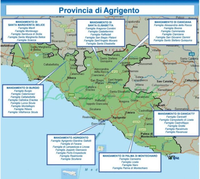 Mappa mafia Provincia Agrigento (Dia 2015)