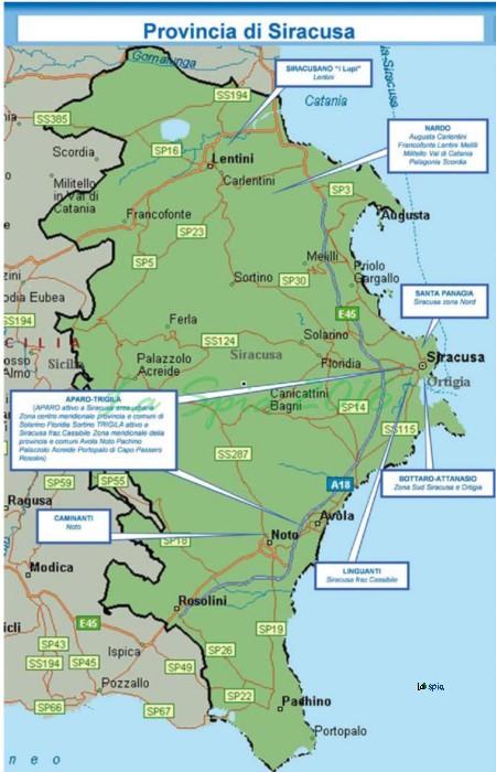 Mappa mafia Provincia Siracusa (Dia 2015)