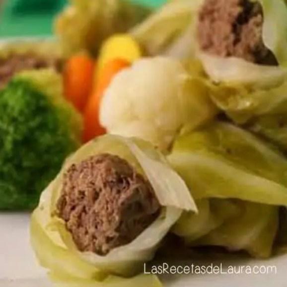 rollitos de col rellenos de carne - las recetas de laura