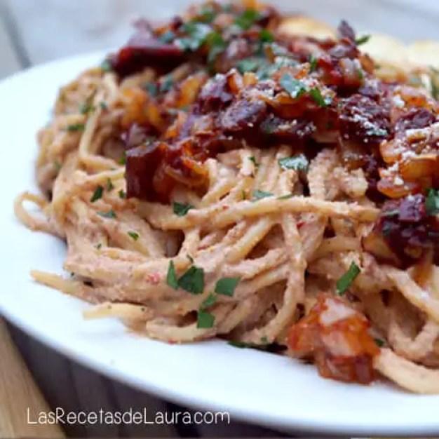 espagueti con salsa de nuez - las recetas de laura
