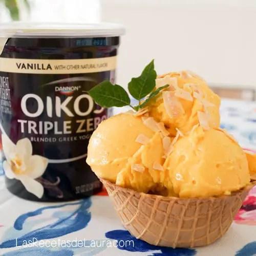 helado de mango con yogurt - receta facil