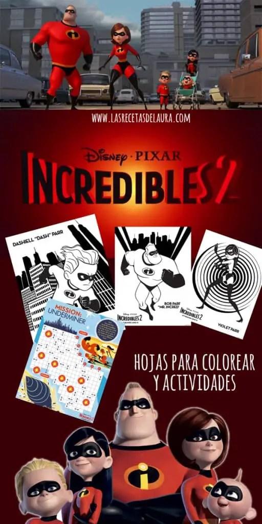 Los increíbles 2 - Actividades y dibujos para colorear