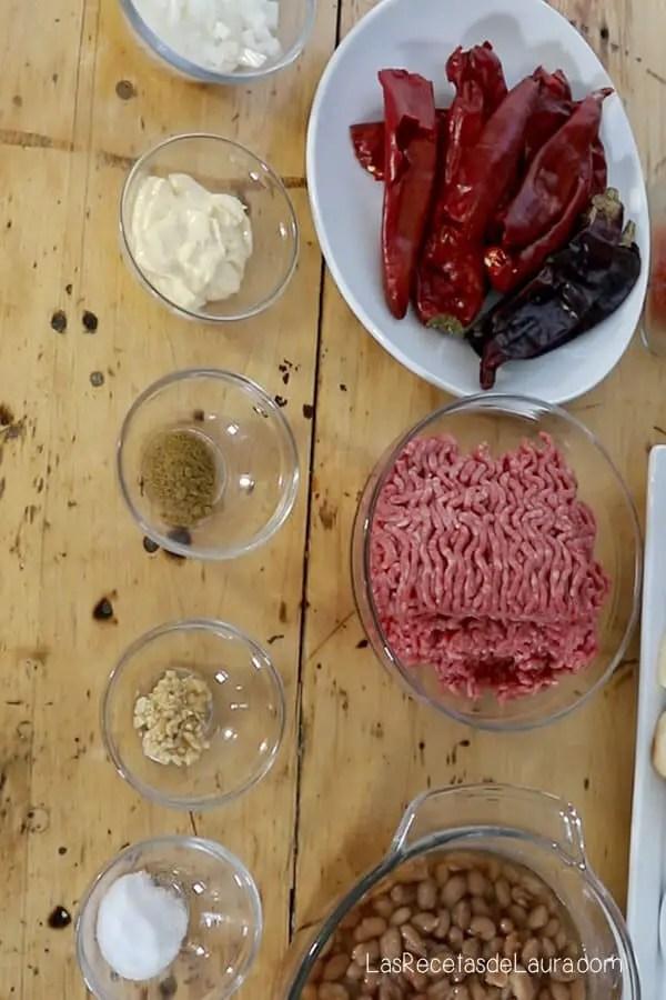 ingredientes para el chili con carne
