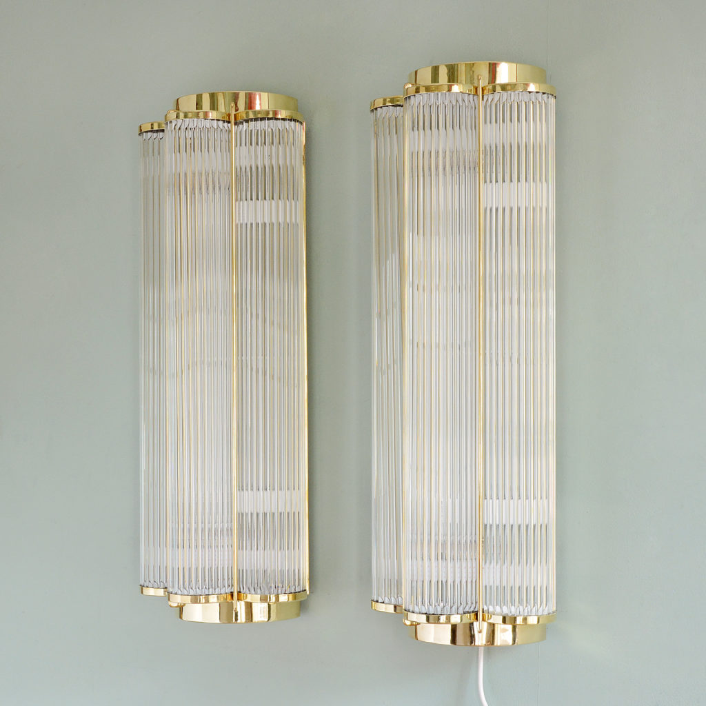 pair of art deco style wall lights