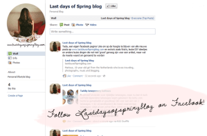 Follow Lastdaysofspringblog on facebook!
