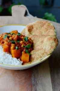 Recept: Curry met pompoen en kikkererwten