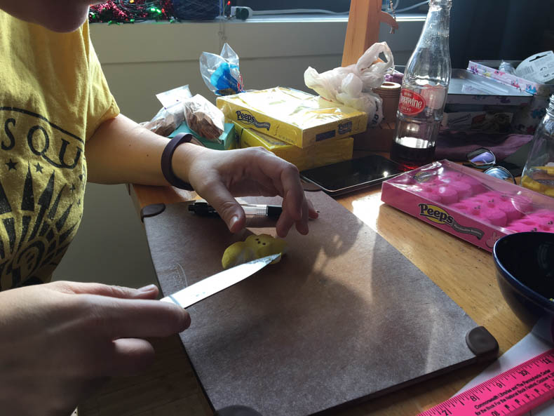 cutting a peep with a knife (to make Captain Ahab)