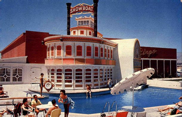 """Showboat Hotel and Casino 1961"" by Ferris H. Scott of Santa Ana, CA - Scan of a 1961 postcard,"