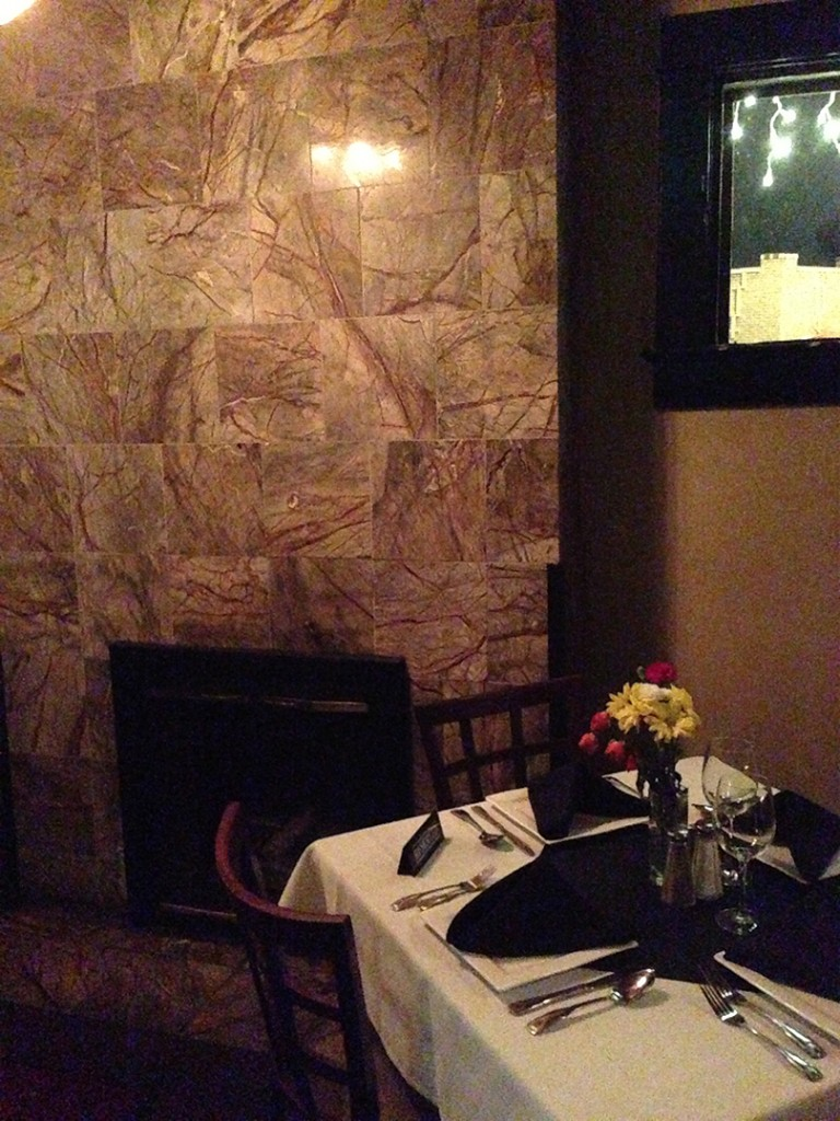 Odyssey's upper level fireplace