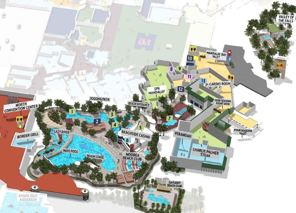 Mandalay Bay Las Vegas beach pool map