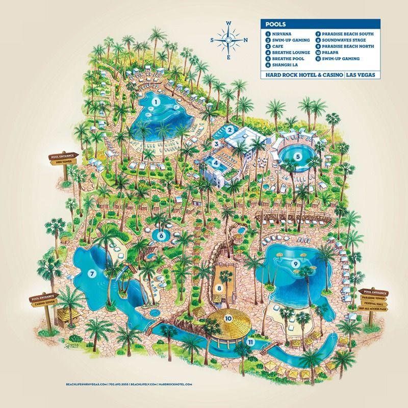 hard rock hotel casino pool map