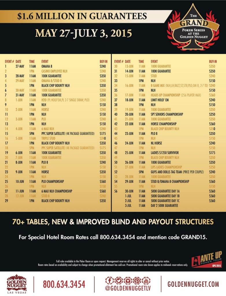 programme golden nugget grand poker series 2015
