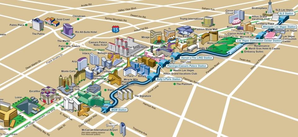 Le plan du Las Vegas Monorail