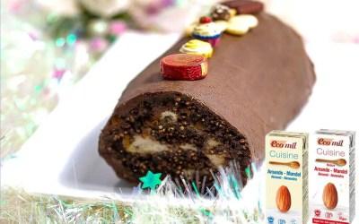 Bûche Vegan crue au chocolat, sans gluten, avec ou sans sucre