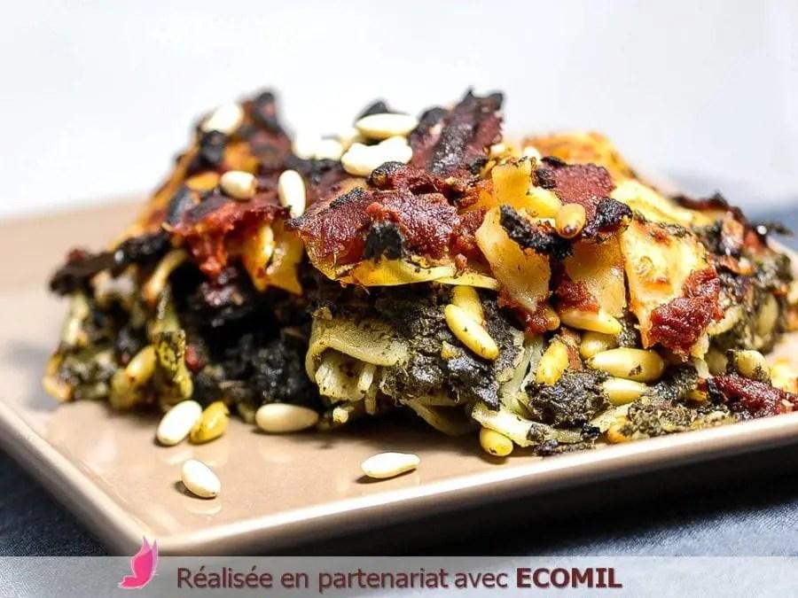 Lasagnes Vegan aux bettes pignons de pin, sans gluten