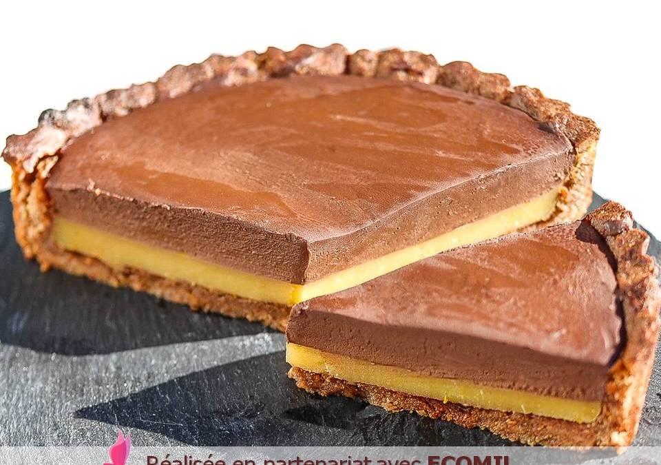 TARTE VEGAN CHOCOLAT ORANGE sans gluten, avec ou sans sucre
