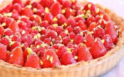 Tarte aux fraises sans farine, sans gluten, sans lait, avec ou sans sucre, sans œuf