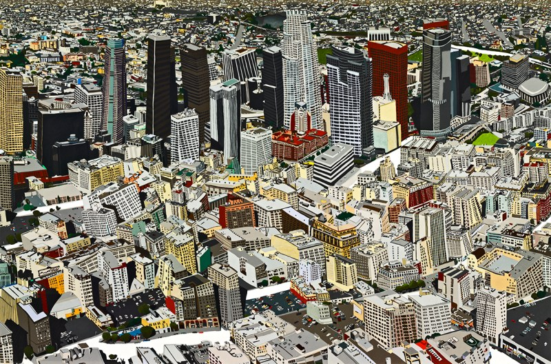Downtown #2, colored pencil on paper, 4' x 6' 2006