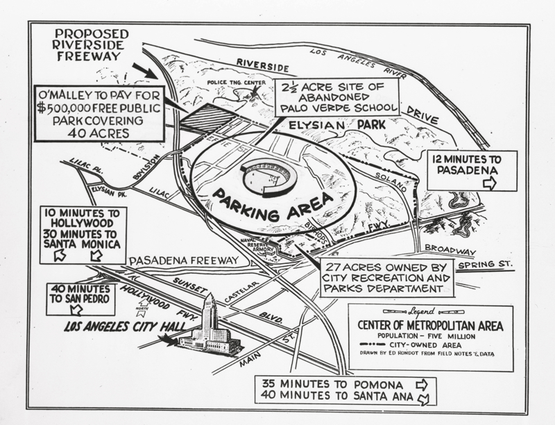 Map of Dodger Stadium Proposal in 1957 ~ L.A. TACO