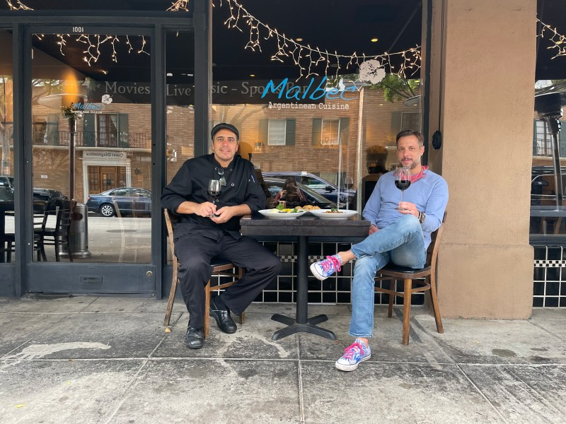 Brothers Pablo Alcorta and Luciano Alcorta in front of their restaurant Malbec Cuisine in Pasadena.